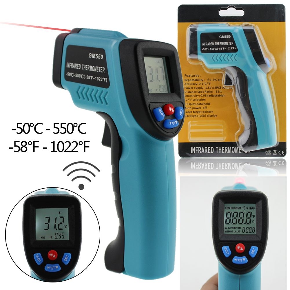 Handheld Digital IR Laser Infrared Thermometer -50~550 Degree Non-Contact Pyrometer LCD Temperature Meter Laser Point Gun portable non contact digital infrared thermometer laser pyrometer from 50 to 380 degree handheld ir temperature measurement gun