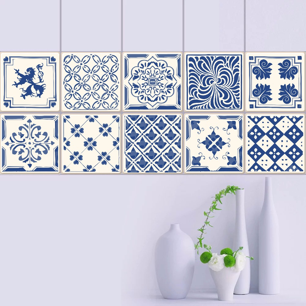 Us 7 98 40 Off Vintage Blue And White Porcelain Tiles Pvc Waterproof Self Adhesive Wallpaper Furniture Kitchen Bathroom Diy Tile Wall Sticker In