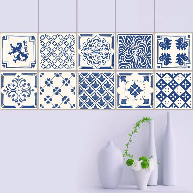 Vintage Blue And White Porcelain Tiles Pvc Waterproof Self Adhesive