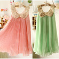 Free Shipping Girl's Summer Chiffon  Tutu Dress  Children  Paillette Pleated Sleeveless Clothes  Princess Party  Dresses