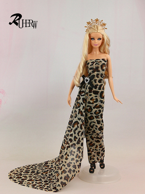 2017 New Fashion Y Leopard Dress For Barbie Doll Feature Wedding Free Shipping