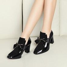 Más el tamaño 34-44 Nuevo 100% REAL PHOTO de alta bombas de los tacones dedo del pie cuadrado de cuero genuino zapatos de las mujeres de las señoras negro Sexy chaussure femme