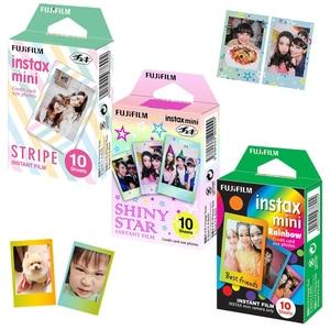 Image 2 - Для Fujifilm Instax Mini 11 8 9 25 90 пленочная камера, 50 листов мгновенная фотография Радуга, полоса, блестящая Звезда, конфеты поп, витражное стекло