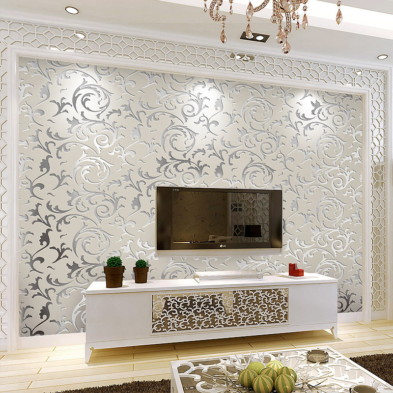 Beibehang diamond crystal continental damascus papel de for Decor papier peint mural
