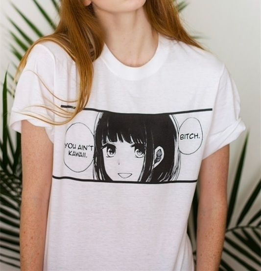 PUDO-JBH вы не Kawaii японского аниме Manga летняя футболка Tumblr Мода Лолита Kawaii гранж белая футболка