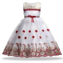 b2d166804 Vestido de la muchacha para el banquete de boda oro bordado lentejuelas flores  princesa niñas vestidos verano niña vestido vesti.