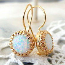 Bohemian Round White Fire Opal Resin Rose Gold Drop Earrings For Women Men Retro Ethnic Birthstone Dangle Earring Jewelry E5T133(China)