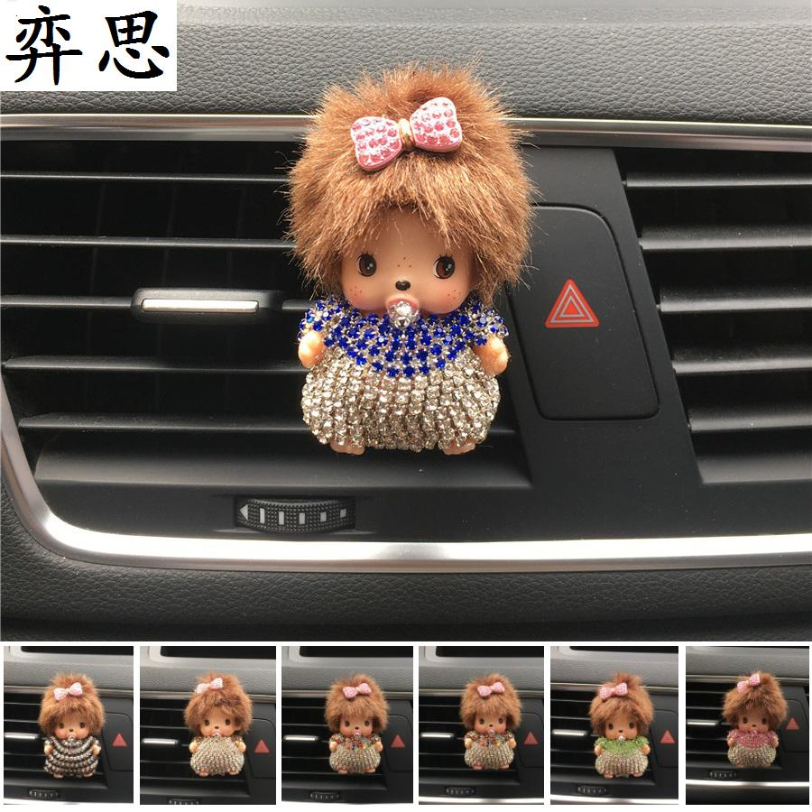 color Rhinestone Kiki doll car air freshener Perfume Lovely Seven color Kiki dolls Automobile styling decoration Perfume clip car outlet perfume air freshener with thermometer lime