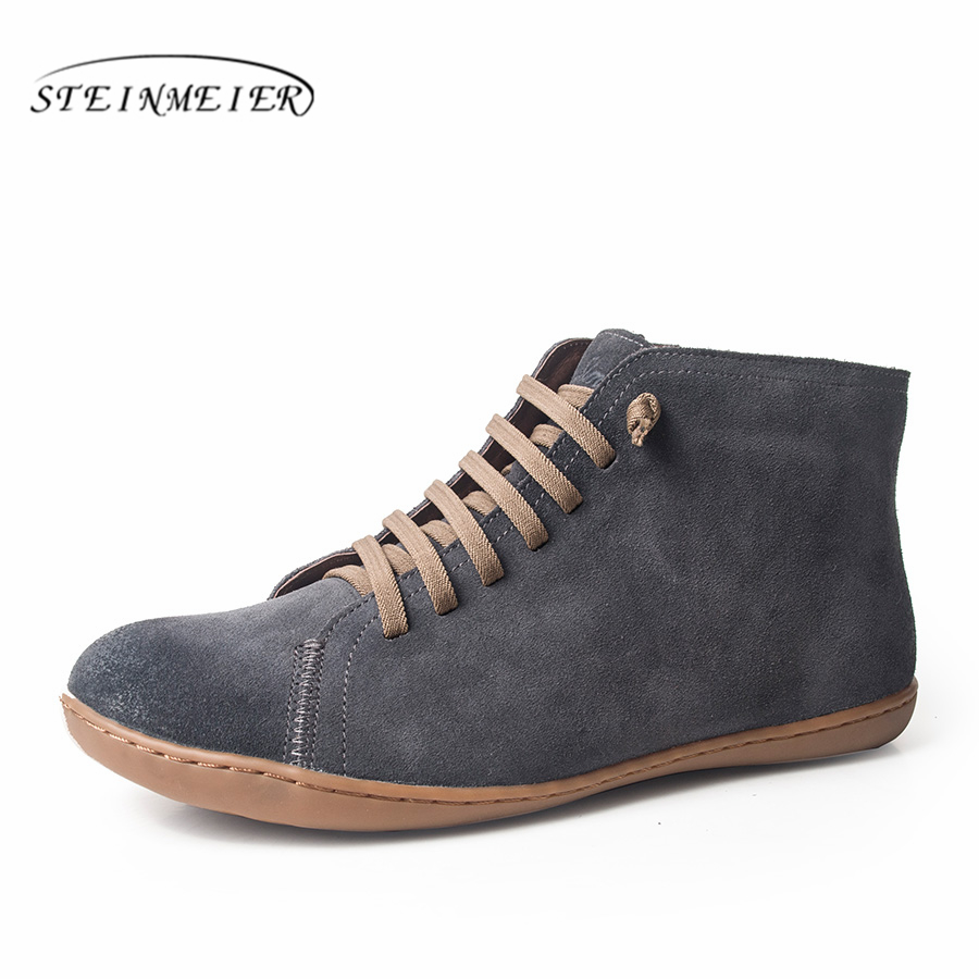 Men Winter Snow Boots Genuine leather Ankle Spring flat Shoes Man  Short Brown Boots With Fur 2019 for men lace up bootsBasic Boots   -