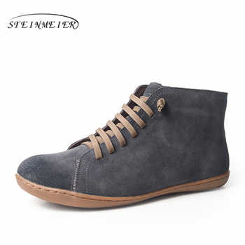 Men Winter Snow Boots Genuine leather Ankle Spring flat Shoes Man Short Brown Boots With Fur 2019 for men lace up boots - DISCOUNT ITEM  49% OFF All Category