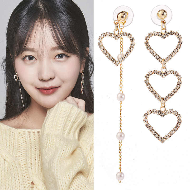 JIOFREE New Korean Charm Pearl Tassel Crystal Love Heart Clip Earrings for Women Fashion Asymmetric Earring Luxury Jewelry