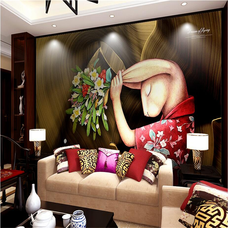 European Style Wallpaper Custom any Size Rabbit Wall Papers Home Decor Wallpaper for Bedroom Kitchen 3d Wall Mural Wallpaper 3d european style home decor wall sticker
