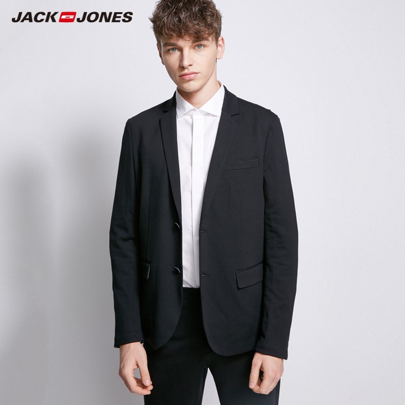 JackJones Men's Slight Stretch Double-breasted  Casual Slim Fit Suit Jacket Male Blazers Coat Terno Masculino Style 218308503