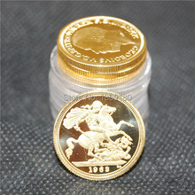 Great Britain Sovereign 1963 Gold clad coin 50pcslot Free shipping coins mini size 22.05 thickness 1.8mm