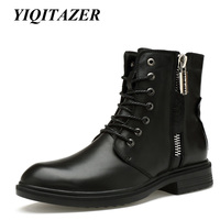 YIQITAZER 2017 Rubber Soles Genuine Leather Men Boots Military Shoes Nature Wool Winter Snow Army Boots