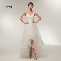 Sexy Spaghetti Straps V Neck High Low Wedding Dress 2019 Ruffles Tulle Simple Beach Brides dress