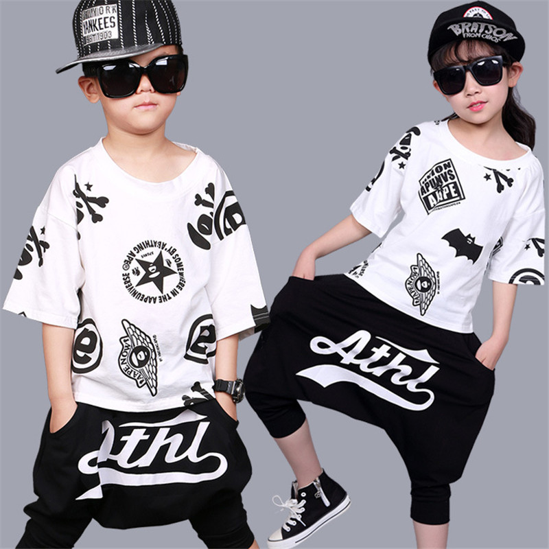 2017 Children Cotton Suit Hip-hop Costume Boys Girls Short Sleeve T-shirt Top & Harem Pants 2 Pcs Kids Summer Clothing Set