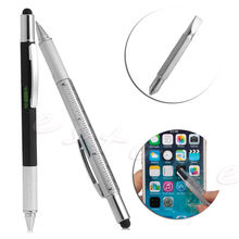 New 6 In 1 Touch Stylus Ballpoint Pen With Spirit Level Ruler Screwdriver Tool t15
