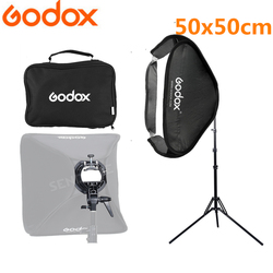 Godox Softbox 50x50cm Flash Diffuser Photo Studio Photography Kit With S-Type Bracket Comet Mount Holder + 2m Light Stand