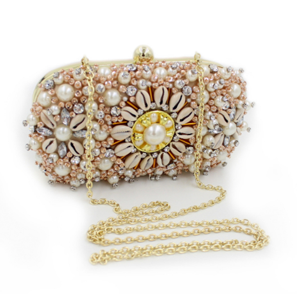 gold Crystal Evening Bag pearl beaded banquet pochette Purse Wedding diamond Clutch Bags Ladies Wallets Candy Bride Handbags new women diamond wedding bride shoulder crossbody bags gold clutch beaded tassel evening bags party purse banquet handbags li29
