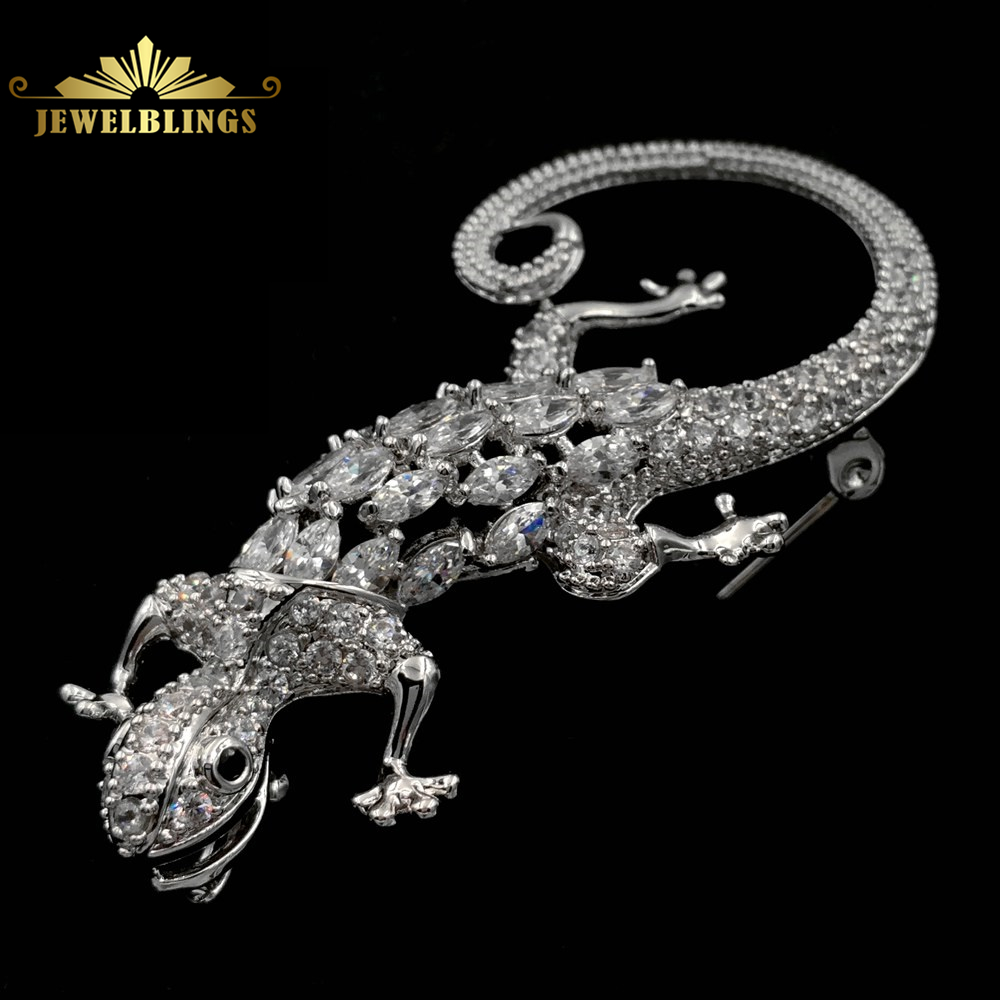 Edwardian Vintage Micro Pave Clear CZ Lizard Brooches Silver Tone Black Eye Prong Set Body Curled Long Tail Statement Lizard Pin цена