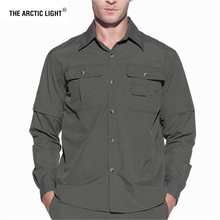 THE ARCTIC LIGHT Men Summer Quick Dry Hiking Shirt Removable Army Fishing&Hunting Breathable Rock Climbing Male Outdoor Shirts стоимость