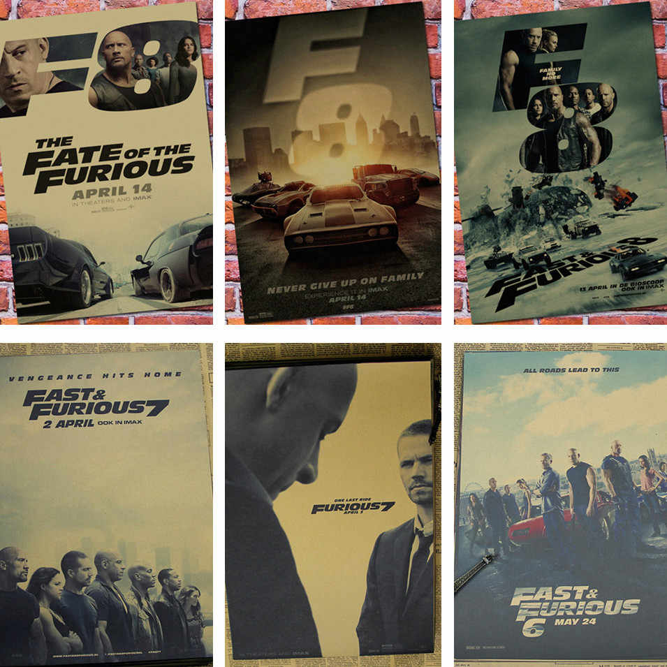 Fast and the Furious Movie Poster Retro Kraft Poster Decorative Painting Drawings Nostalgic Living Room Decoration wall sticker