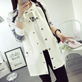The new Spring and Autumn casual loose cotton long section of the large female models long-sleeved jacket Slim