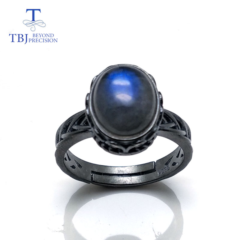 TBJ Labradorite rings 100 natural gemstone oval 7 9mm classic design 925 sterling silver fine jewelry