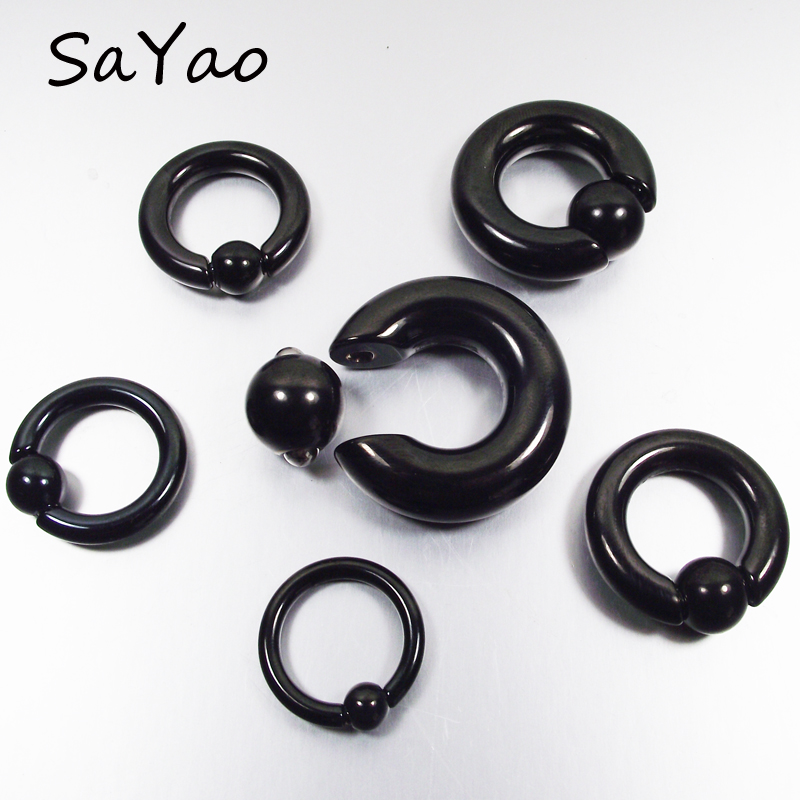 SaYao 1 Piece Big Size Stainless Steel Captive Hoop Rings BCR Eyebrow Tragus Ear Piercing Nose Closure Nipple Bar Body Jewelry body jewelry