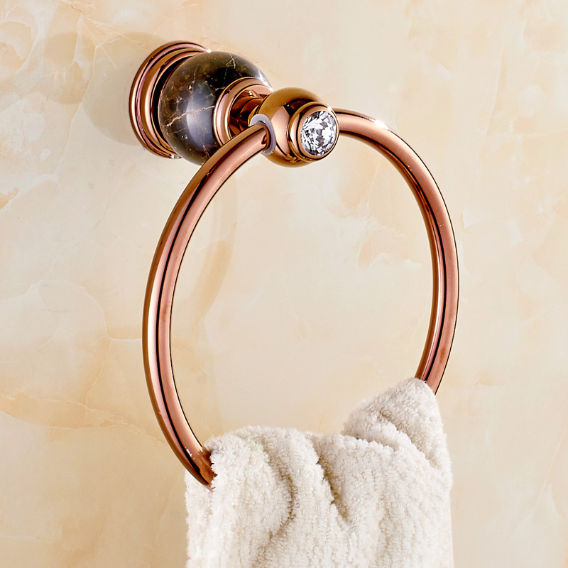 Jade Towel Ring All Copper Rose Gold Natural Marble Towel Ring Bathroom European Style Towel Ring