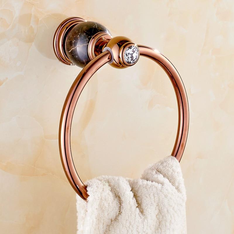 Jade Towel Ring All Copper Rose Gold Natural Marble Towel Ring Bathroom European Style Towel Ring  artificial jade embossed ring