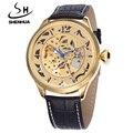 Shenhua Watch Men Leather Band Automatic Mechanical Self Wind Watches Men Luxury Gold Skeleton Wrist Watch Relogio Masculino