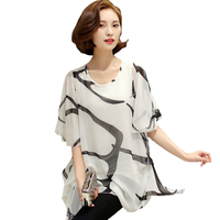Tribal Print Blouses 2016 New Summer Style 5XL Pluse Size Women Clothing Short Sleeve Chiffon Blouse
