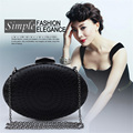 DUDINI  Women Brand Evening bags Luxury Black Color Designer Women Clutch bag Chain Oval Shape Wedding Bridal Women Purse wallet