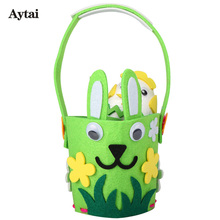 Aytai Happy Easter Gift DIY Craft Easter Egg Basket Rabbit Easter Decoration Felt DIY Baskets Kids Handmade School Supplies