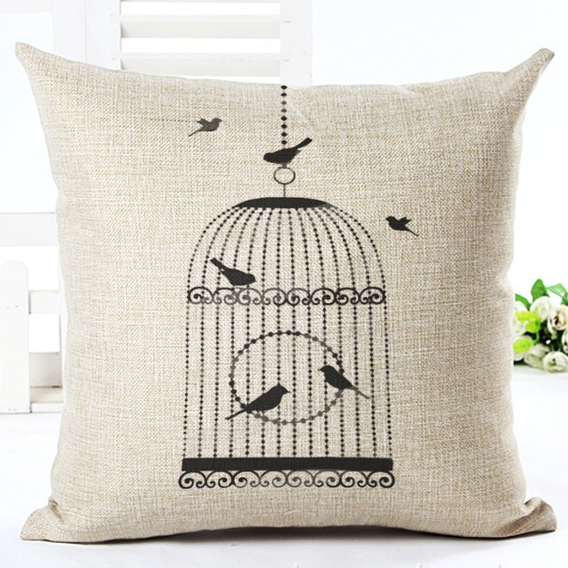 Cotton Linen Pillow Case Bird Cage Cushion Cover Decorative Square Pillows Cushion Cover 450x450mm Sofa Car Home Decor F