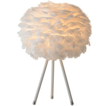 Pure White Feather Table Lamp with EU/US Plug in Wedding Livingroom Bedroom Bedside Decor Fixture LED Tripod Desk Standing Light измайлова е ред творческие задания для маленьких принцесс 23 пошаговых урока