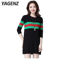 YAGENZ Autumn Winter Medium Long Dress Knitted Women 2017 Korean Loose Striped Pullover Round Neck Lady