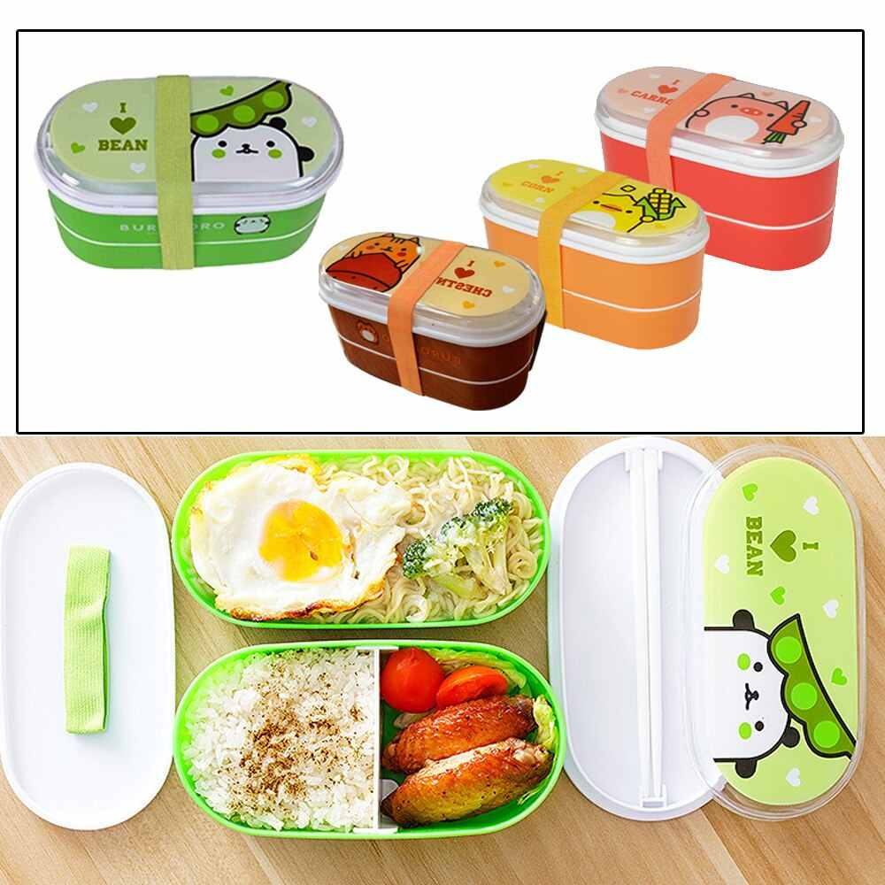B Cartoon Healthy Material Lunch Box Wheat Straw Bento Boxes Microwave Dinnerware Food Storage Container Lunchbox Bento Box