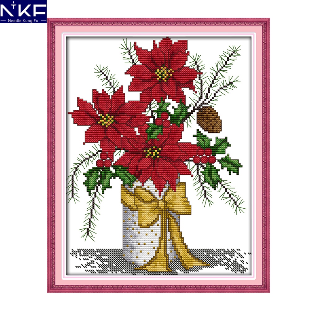 NKF Winter vase flower style needlework embroidery sets handcraft ...