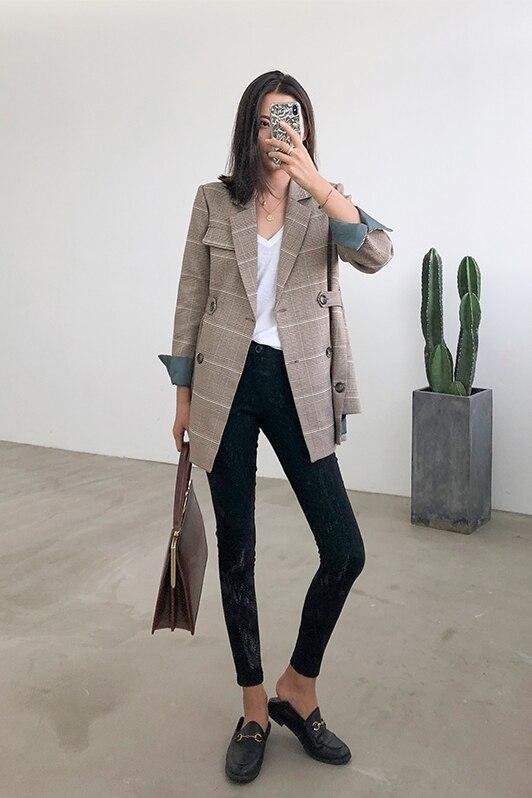 Foulard Vestes Mode Élégant Feminino Papillon Femmes Lady Office Travail 2019 De Nœud Khaki Blazers Automne Vêtements Blazer Manteau Plaid x8qISw0w