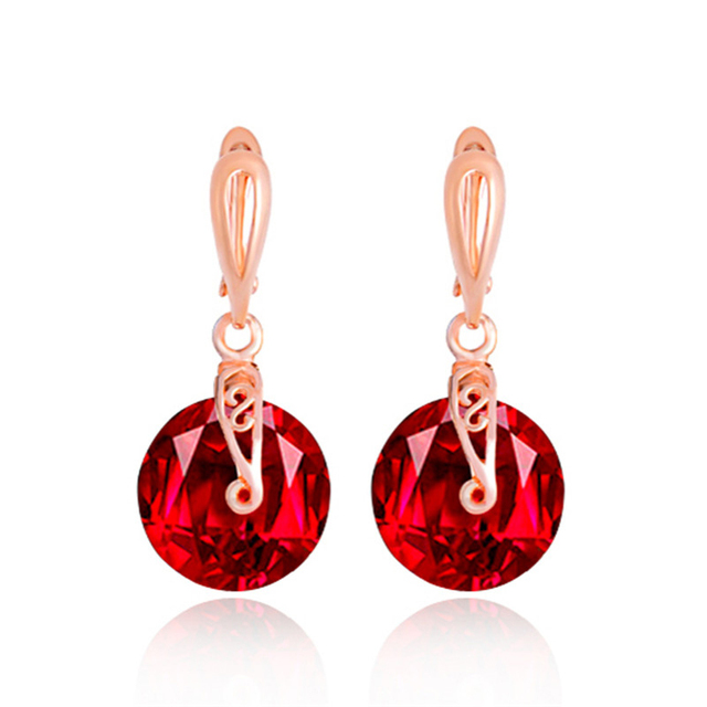 Shuangr Wedding Earrings For Bridal Rose Gold Cz Red Clear Round