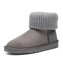 Casual and comfortable winter warm womens classic snow boots suede heepskin with wool flanging Women shoes