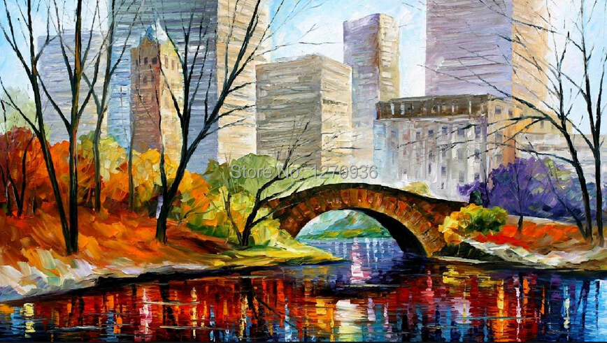 Professional Manufacturer Best Quality Hand Paint Landscape Oil Painting New York Central Park Scenry For Home Wall Decoration In Calligraphy