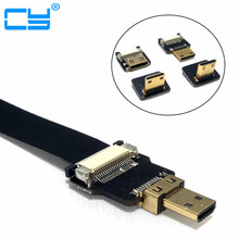 90 Degree FPV Micro HDMI Male to Mini HDMI FPC Flexible Flat Cable fpv Flat Cable for GOPRO Multicopter Aerial Photography flat hdmi male to male connection cable black 514cm