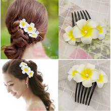 HappyKiss brides hair combs frangipani flower dish the marriage gauze photo accessories jewelry headdress female