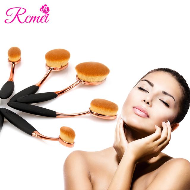 2017 Chegada Nova Escova da Composição 10 Pcs Conjunto escova de Dentes Forma Oval Rosto cosméticos Em Pó Fundação Ouro Rosa