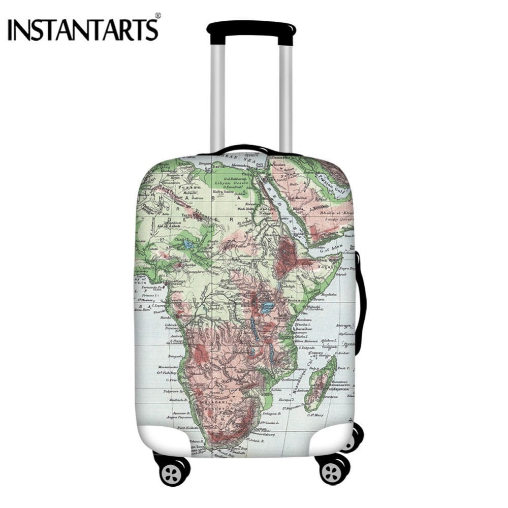 INSTANTARTS World Map Luggage Cover Travel Accessories Protective Dust Case Bag Covers Waterproof Rain Cover Suitcase Stretch