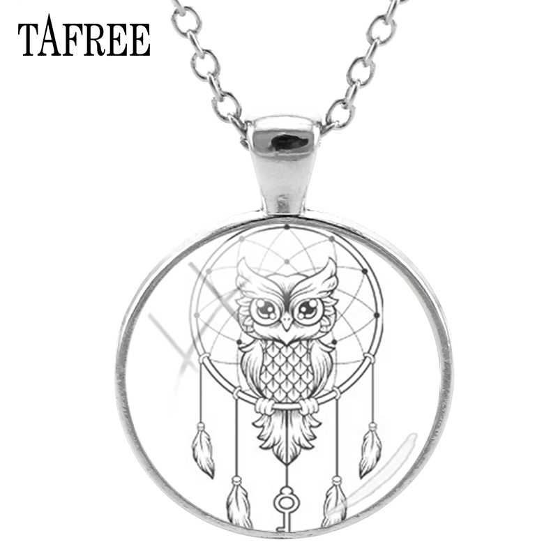 TAFREE Dream Catcher & Owl Pendants Necklaces New  Black And White Art Pattern Glass Cabochon Dome Handmade Jewelry DH54